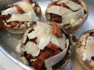 Mushrooms with chorizo and parmesan
